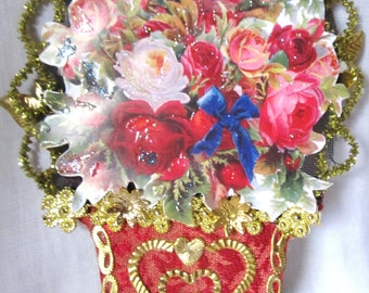 Victorian Style Vase Of Roses Craft Supplies