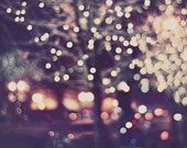 Surreal Photography, Landscape Photograph, Tree Lights, Street Scene, Snowing, Night Lights, City Night Photo, Abstract, Mauve, Dreamy