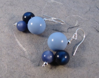 Blue Vintage Lucite Earrings