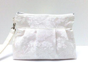 Wedding Clutch Purse Zippered Wristlet Floral Brocade White Satin