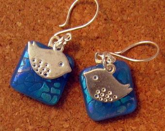 Blue Dichroic Earrings Bird Earrings Fused Glass Earrings Fused Glass Jewelry Dichroic Jewelry