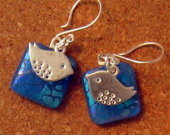 Blue Dichroic Earrings -  Bird Earrings - Fused Glass Earrings - Fused Glass Jewelry - Dichroic Jewelry - Fused Dichroic Glass