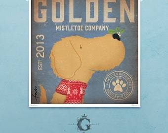 Golden Retriever Mistletoe Company holiday illustration giclee signed artists print by Stephen Fowler