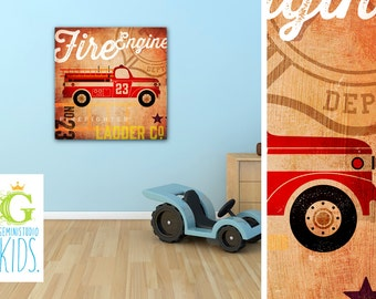 Firetruck fire engine train truck race car airplane graphic childrens wall art canvas panel by stephen fowler