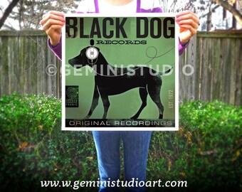 BLACK DOG labrador records album artwork giclee archival print illustration by stephen fowler Pick A Size