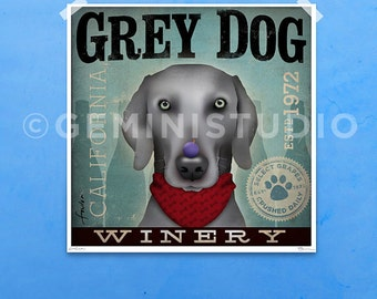 Weimaraner Winery  original graphic illustration giclee archival signed artist's print by stephen fowler PIck A Size