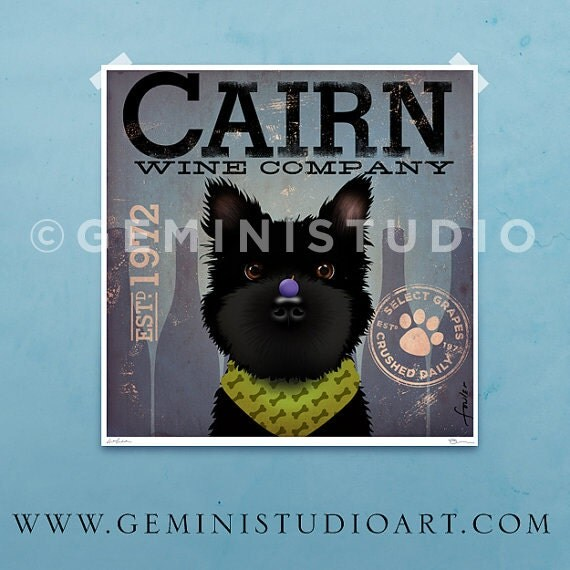 Cairn Terrier dog Winery Company graphic illustration giclee archival signed artist's print by Stephen Fowler Pick A Size