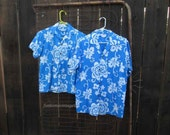 Vintage 60s Hawaiian Shirt Mens Blue print Tiki shirt M tourist costume