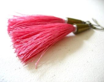 Tassel Earrings, Pink Long Tassel Earrings, Tassel Jewelry, Tribal Jewelry, Handmade Tassel Earrings