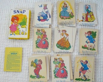 Vintage Children's Snap Card Game - Nursery Rhymes Theme - In original box with instructions - Great ephemera for paper crafts