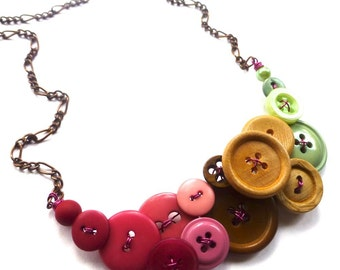 Color Blocking Necklace with Magenta, Pink, Brown, Tan, Mint Green Buttons