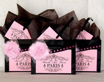 Three Paris Favor Bags Black Paper Gift Bags with Paris Flea Market Label, Fabric Flowers, & Matching Tags