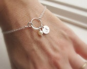 Pearl bridesmaid bracelet with initial Personalized silver initial bracelet Hand stamped bridesmaid gift Freshwater pearl bridesmaid jewelry