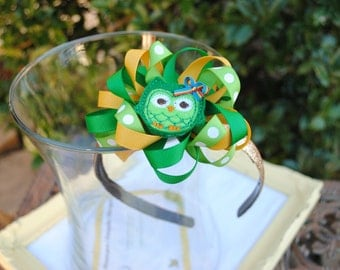 St Patrick's Day Headband - St Paddy's Day Hair Bow - Gold Flower Bow Glitter Headband for Toddler, Girl, Tween, Adult - Irish Owl Lucky Bow