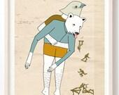 Poster, Animals, print, Humor, Bear, Bird art, Army men, childrens art, nursery art, Unique wall art, Drawing, Heimlich - Art Print on Paper