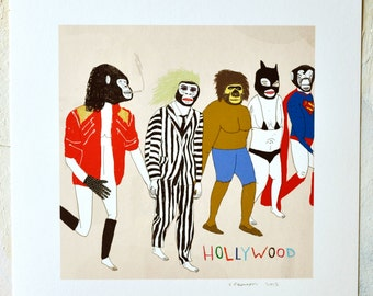 Print, Colorful art, Animal lover gift, Animal masks, Beetlejuice, Superman, Super Hero, Hollywood, Weird art Unique gift, Cool wall decor