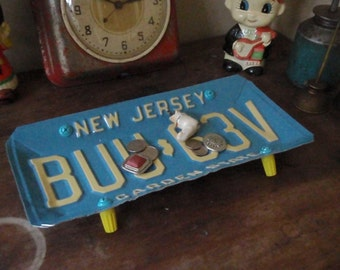 Vintage Blue New Jersey License Plate Tray - Repurposed and Upcycled Home Decor - Garden State - FREE SHIPPING