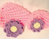 Girl's Crocheted Hat with flower, Dolly and Me Matching set for 18 inch doll and her girl