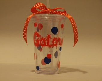 Gators Cup With Straw, Personalized