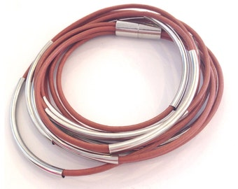 Sunset Pink Double Wrap Leather Silver Bracelet / Necklace with Magnetic Clasp