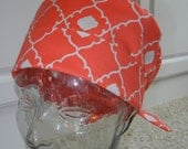 Tie Back Surgical Scrub Hat in Coral Me Sometime