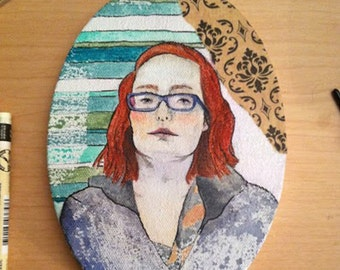 Self Portrait 2014- Original Mixed Media Painting