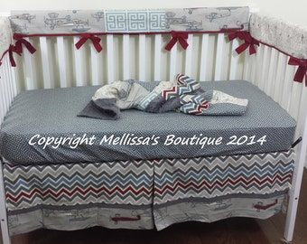 Custom Designer Vintage Air Chevron & Dots Baby Nursery BUMPERLESS Crib Bedding Set Made to Order Choose and Customize