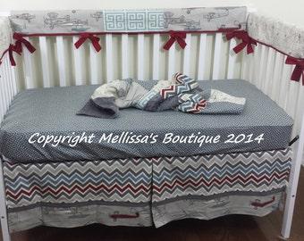 Custom Designer Vintage Air Chevron & Dots Baby Nursery BUMPERLESS Crib Bedding Set Made to Order Choose and Customize