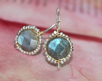Labradorite Earrings with Faceted Thai Silver Bead Wire Wrapped Bezel Mixed Metal Handcrafted