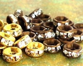 8mm - 12 pcs - Brass Patina Rhinestone Rondelle Spacer Beads - Channel Edged - Choice of Antiqued Brass or Raw - Patina Queen