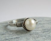 White Freshwater Pearl Ring, Oxidized Sterling Silver Wire Wrapped Jewerly
