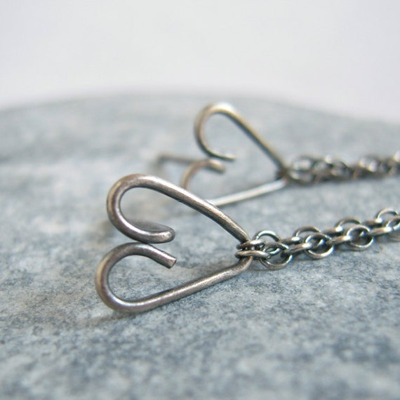 Sweet Heart Oxidized Silver Post Earrings, Wire Wrapped Heart With Double Layer Chain