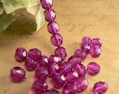 Orchid Czech Glass Beads Pink Purple Round Firepolished 6mm (25)