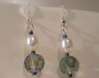 Pearly Peacock Beaded Earrings