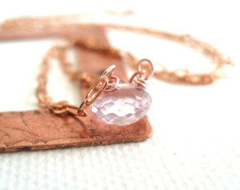 Pink Amethyst Solitaire Necklace Rose Gold Holiday Gift for her Under 50 Vitrine Pale Pink February Birthday
