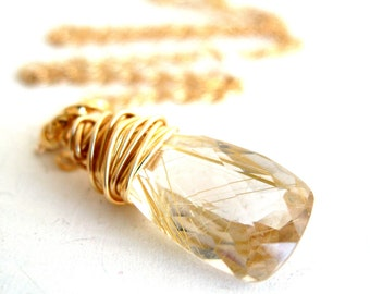 AAAA Rutilated Quartz Necklace Spun Gold Gift for her Under 75 Vitrine Sparkle Bling