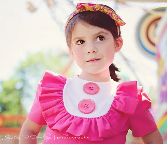 Retro Style Layla dress with bib and ruffles- Valentine,children clothing-girls dresses