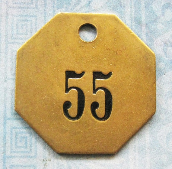 Brass Number Tag Antique Room 55 Key Fob Octagon Painted Motel
