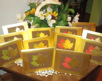 Set of 12 Gold Leaf Note Cards