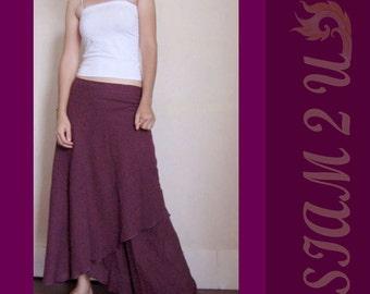 Custom Made Boho Hippie Purple Cotton Two Layers long  Circle Wrap Skirt S-L (H)