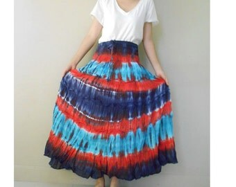 Blue Red  Tie Dye Cotton Hippie Smock Long Skirt /Maxi Dress S-L (14)