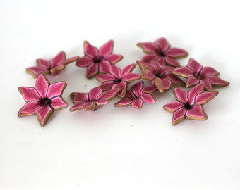 Stargazer Lily Beads, Polymer Clay Beads, Pink Flower Beads, 10 pieces