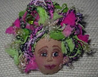 Whimsical Fiber Sculpted Art Doll Face Pin