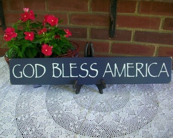 God Bless America Wood Sign Patriotic Wall Plaque Fourth of July Wall Art Americana Handmade