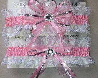 Light Pink Bridal Wedding Garter Set  a Keepsake n Toss Garters