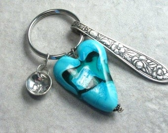 My Heart --- Sterling Silver and Lampwork Key ring