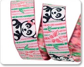 1 Yard Panda and Bamboo Jacquard Ribbon