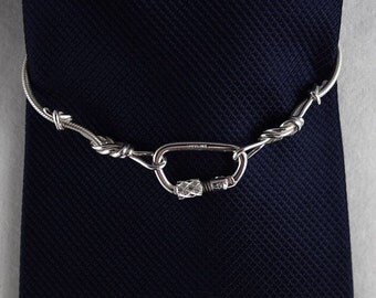 Climbing Rope Tie Chain with Figure Eights and Functional Carabiner Clasp Sterling Silver Rock Climbing Jewelry