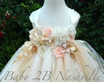 Champagne and Ivory Dress Flower Girl Dress Tutu Dress Wedding Dress Flower Girl Tulle Dress  Deluxe Floral Dress Baby Dress Toddler Dress