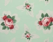 1940s Vintage Wallpaper by the Yard - Floral Wallpaper with Pink Roses on Mint Green Background with Butterfly Silhoette